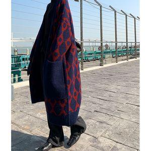 Image 5 - 2019 kış rahat kaşmir trençkot kadın karikatür vinçler desen hırka açık dikiş örgü uzun dış giyim büyük boy