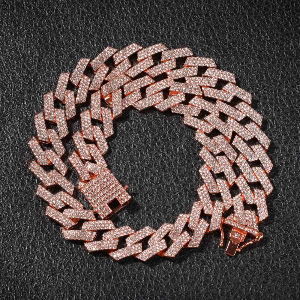 UWIN 20mm Prong naszyjnik kubański łańcuszek moda Hiphop biżuteria 3 wiersz dżetów Iced Out naszyjniki dla mężczyzn