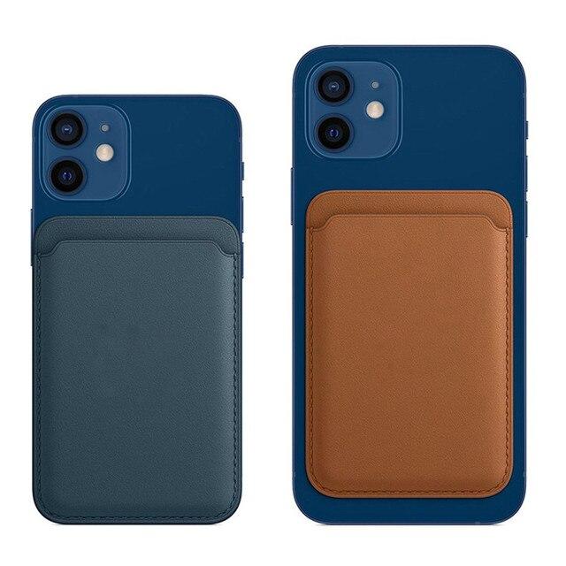 Avec LOGO Original en cuir véritable sac pour iPhone 12mini 12 Pro Max Mini étui en cuir magnétique sûr portefeuille magnétique carte sac