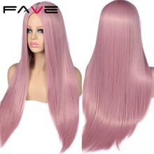 FAVE 롱 스트레이트 퓨어 사쿠라 핑크 합성 가발 내열성 FiberFor 화이트/블랙 American African Womes Wig Cosplay
