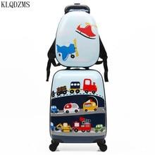KLQDZMS 18 Inch ABS Kids Travel Suitcase On Wheels Child Gift Cartoon Rolling Luggage Cute Boy Girls Bag