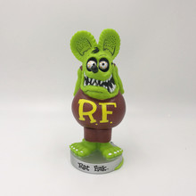 Lowest Price The Rat Fink BIG DADDY Green Bobble Head Doll PVC Action Figure Toy In Color Retail Box rat fink big daddy bobble head pvc action figure collectible model toys 16cm kt3748