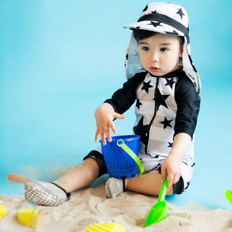 KID'S Swimwear BOY'S Fashion South Korea One-piece Black And White Star Cute Baby BABY'S Swimming Trunks Sun-resistant Quick-Dry