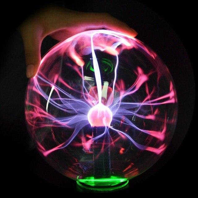 Новинка, стеклянная плазменная лампа 8 дюймов/203 мм с евровилкой, шар, Волшебный шар, декоративная лампа на Рождество, Новый Год, детский подарок