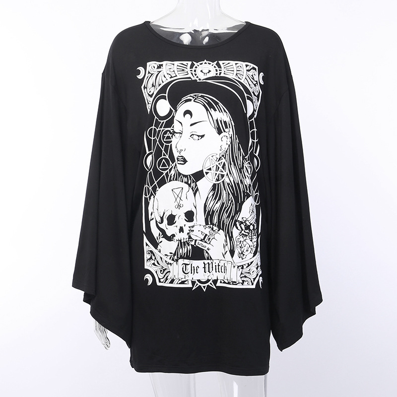 Hb55d78fef7d245a98b0c99238cdfc70dD - Gothic women T-shirt Loose black rock Harajuku cool light print top Halloween party long shirts summer female pok clothes