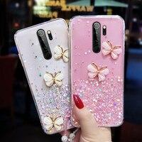 Funda de teléfono para Xiaomi de silicona con purpurina, funda de cuerda de lujo ultrafina y brillante, para Redmi Note 9 8 7 Mi 11 0 9 T Lite Pro