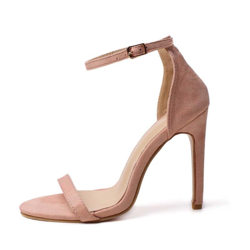 Yaz ayakkabı kadın 2020 sandalet peep toe yüksek topuklu ayak bileği kayışı gümüş pompalar 11CM seksi gladyatör topuk sandalia feminina büyük boy