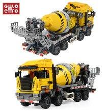 1143 sztuk miasto betoniarka ciężarówki inżynieryjne Buiding bloki pojazd budowlany cegły samochodowe dzieci DIY zabawki dla dzieci prezenty