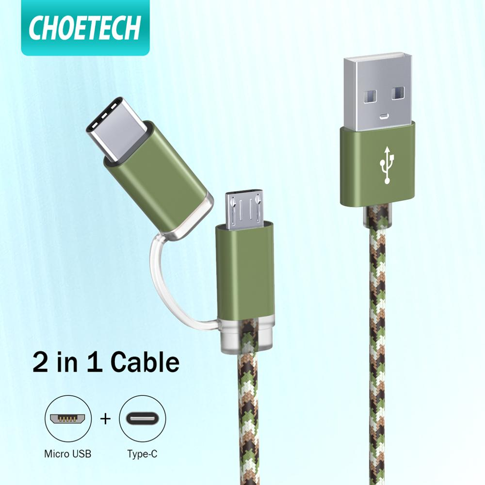 CHOETECH Micro USB Type C <font><b>Cable</b></font> <font><b>2</b></font> <font><b>in</b></font> <font><b>1</b></font> Fast Charging Sync <font><b>2</b></font>.4A USB <font><b>Cable</b></font> for <font><b>Samsung</b></font> Xiaomi Android Mobile Phone USB C <font><b>Cable</b></font> image