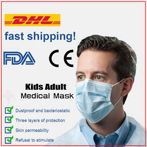 Face-Mask Disposable Mouth Fp3-Layer Breathable Kids Child 100pcs Blue DHL Soft Elastic