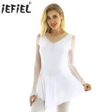 Robe avec justaucorps pour femmes et adultes, strass brillants, patinage sur glace, robe de Roller, vêtements de Ballet