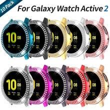 10 pçs duas linhas de diamante caso para samsung galaxy assista ativo 2 44mm 40mm capa feminina luxo luz protetora escudo pára-choques