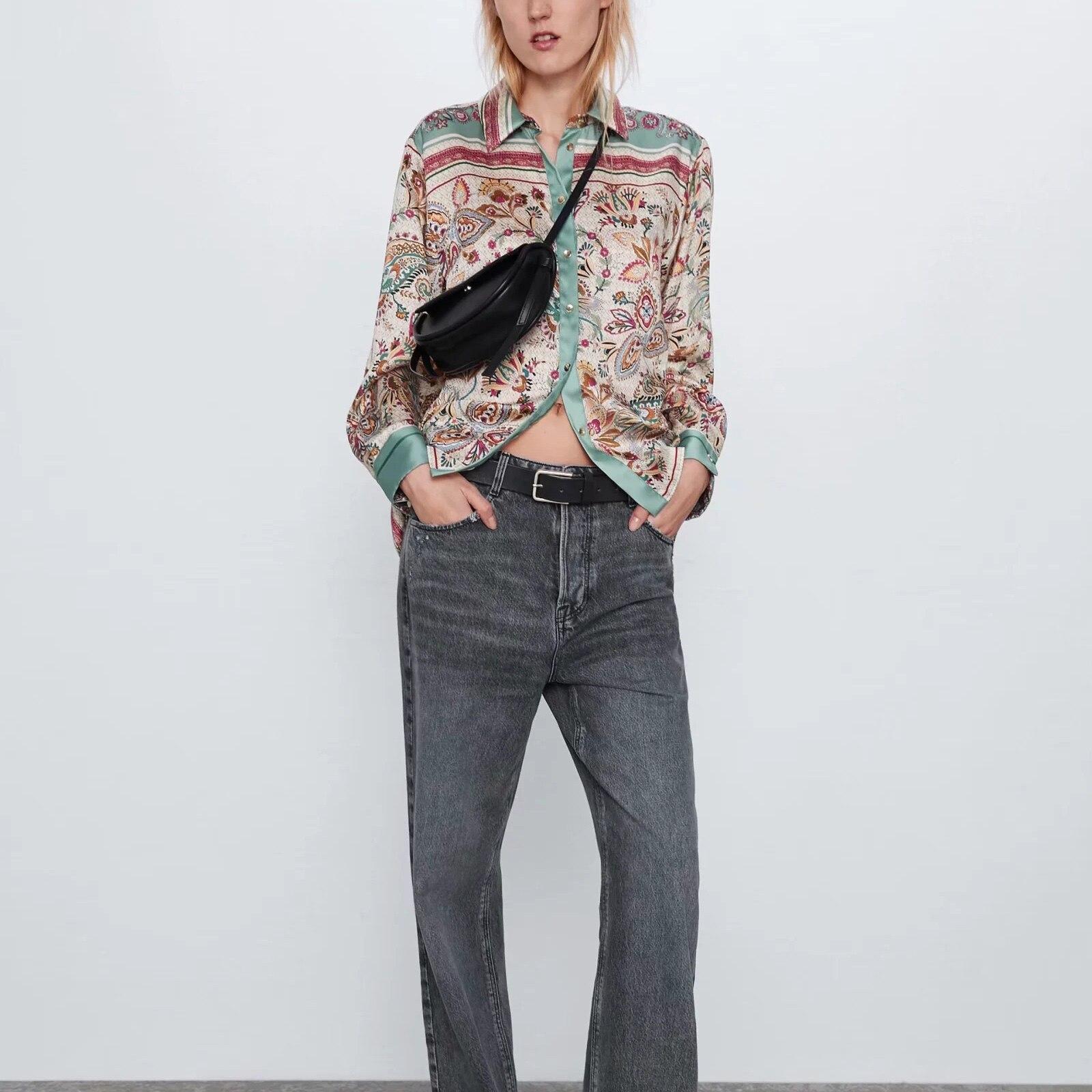 ZA blusa mujer camisa estampado Vintage tops Casual señoras blusa mujer ropa mujer