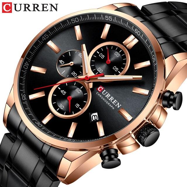 2019 新CURRENトップブランドの高級メンズ腕時計自動日付時計男性スポーツ鋼腕時計メンズクォーツ腕時計レロジオ Masculino