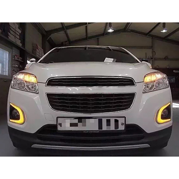 1 set For Chevrolet TRAX Chevy 2014 2015 LED DRL Daytime Running Lights Daylight With yellow turn signal and fog lamp hole