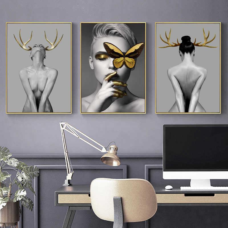 נורדי קרניים בנות Figuars קיר אמנות בד ציור הדפסי כרזות שחור לבן עירום אמנות תמונות לסלון מורדן דקור