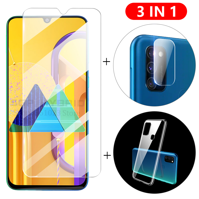 3-in-1 Case + Camera Glass For Samsung A50S M30s A20e A10s Screen Protector Lens Film On Galaxy M30 A10 A20 A50 Protective Glass