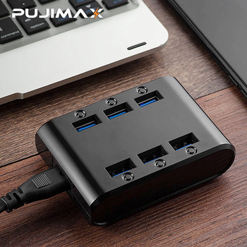 PUJIMAX EU/US/UK Plug 24W 4.8A 6-Ports USB Charger Hub Power Station Mobile Phone Charger for Samsung Huawei LG Iphone Adapter