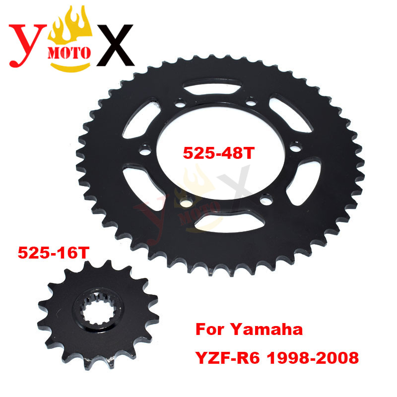 YZF-R6 Motorcycle Front & Rear Set 525-16T 525-<font><b>48T</b></font> Chain <font><b>Sprocket</b></font> Gear Steel For Yamaha YZF R6 YZF600 1998-2008 2003 2004 2005 image