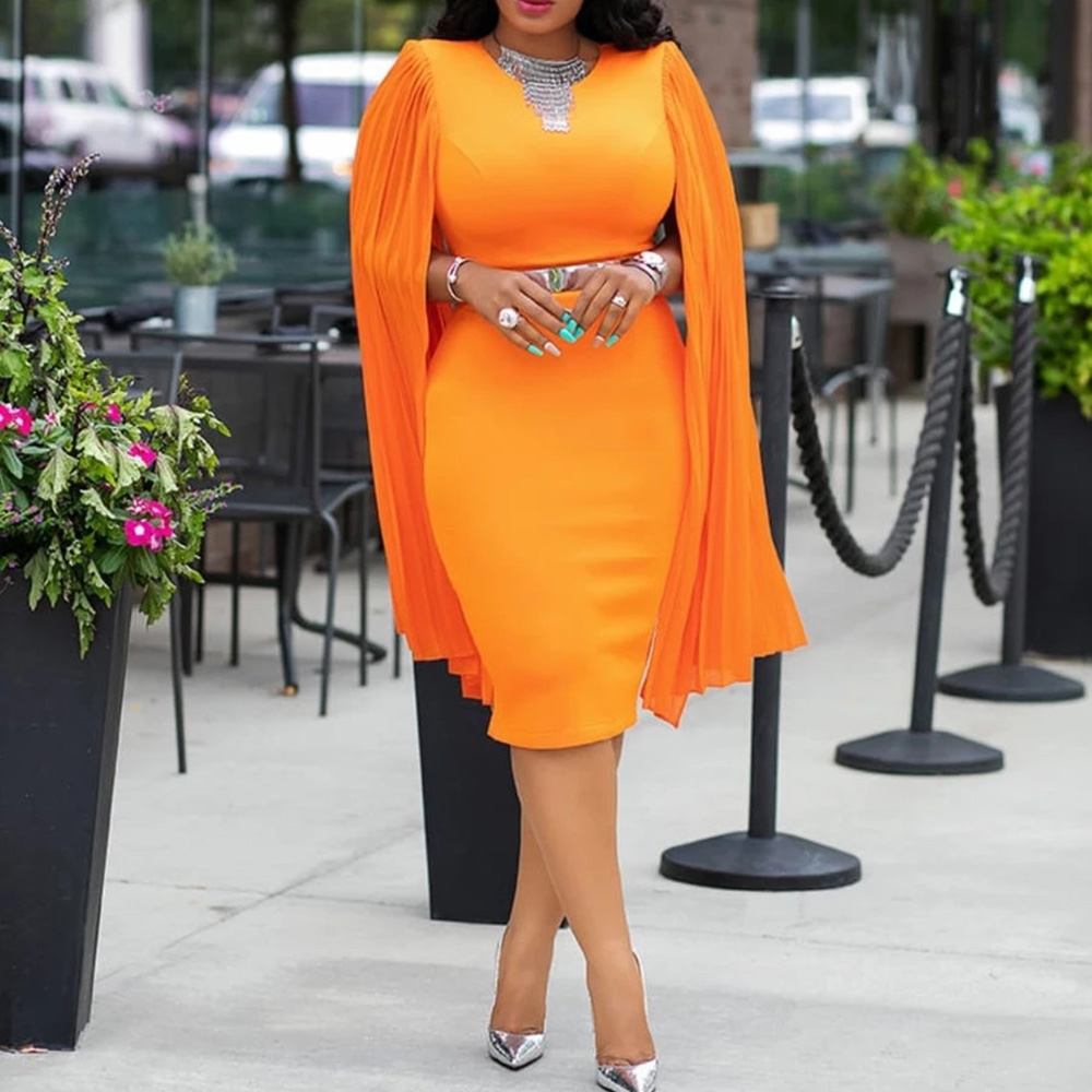 <font><b>Orange</b></font> Women Bodycon <font><b>Dresses</b></font> Elegant Party Dinner Midi <font><b>Dress</b></font> Robe African Pleated Shawl Sleeve Straight <font><b>Dresses</b></font> 2019 Vestiods image