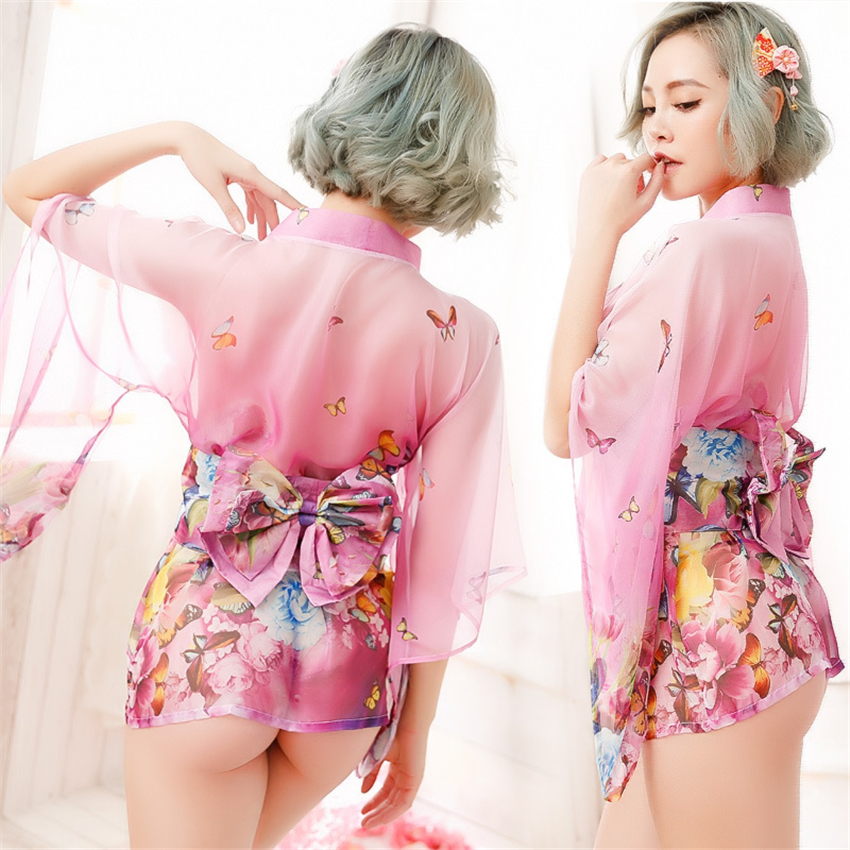 Loose Japanese Fashion Women Dress Pajamas Kimono Sleepwear Floral Lace Silk Nightdress Adult Yukata Pajamas Clothing