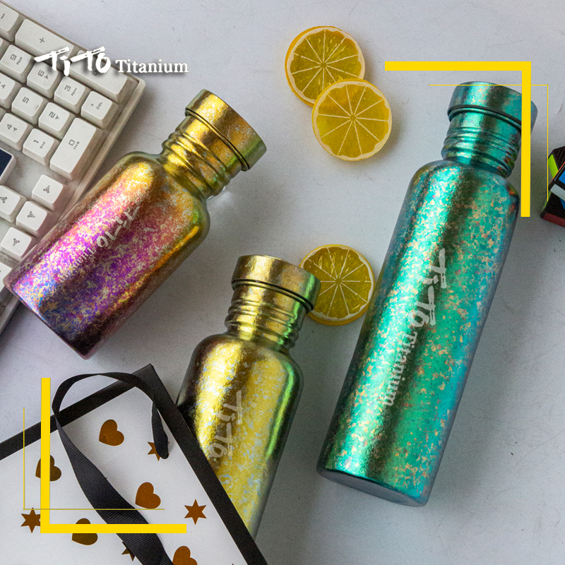 TiTo Titanium Bottle Bicycle Drinkware Bike Outdoor Camping Cycling Hiking Lid 750ml Titanium Sports Bottle Titanium Cup