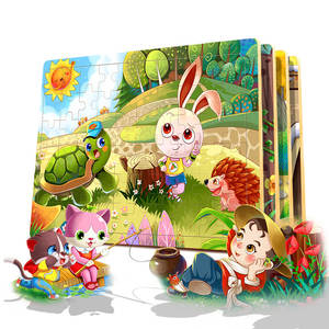 Wooden Puzzles Toys 60pcs 3D Kids Puzzle Jigsaw Cartoon Animals Child Educational Toys for Children Gifts Learn Games