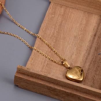 Amaiyllis 18k Gold Minimalist Angel Heart Clavicle Necklace Pendants Gold Heart Necklace For Women 18k Summer Jewellry Gift недорого