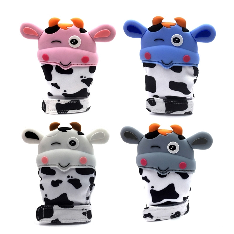 Baby Cow Shape Teether Gloves Safe Silicone Teething Mitts Infant Dental Care Candy Wrapper Sound Teethers Toy Gifts Teether