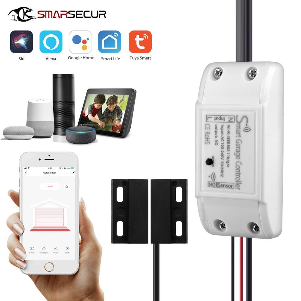 SMARSECUR WiFi Smart Garage Door Controller Opener Smart Life/Tuya APP Remote Compatible With Alexa Echo Google Home/Siri