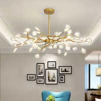 Lustre en feuilles de support en or Rose, chandelier de salle de bain postmoderne à bulles en verre pour la maison
