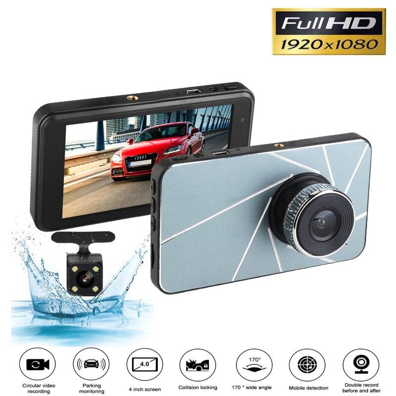 4K Dash Cam 4 zoll Full HD 1920x1080P Auto Kamera DVR Dual Lens Nachtsicht 24H Parkplatz Monitor Dashcam G-sensor auto dvr kamera