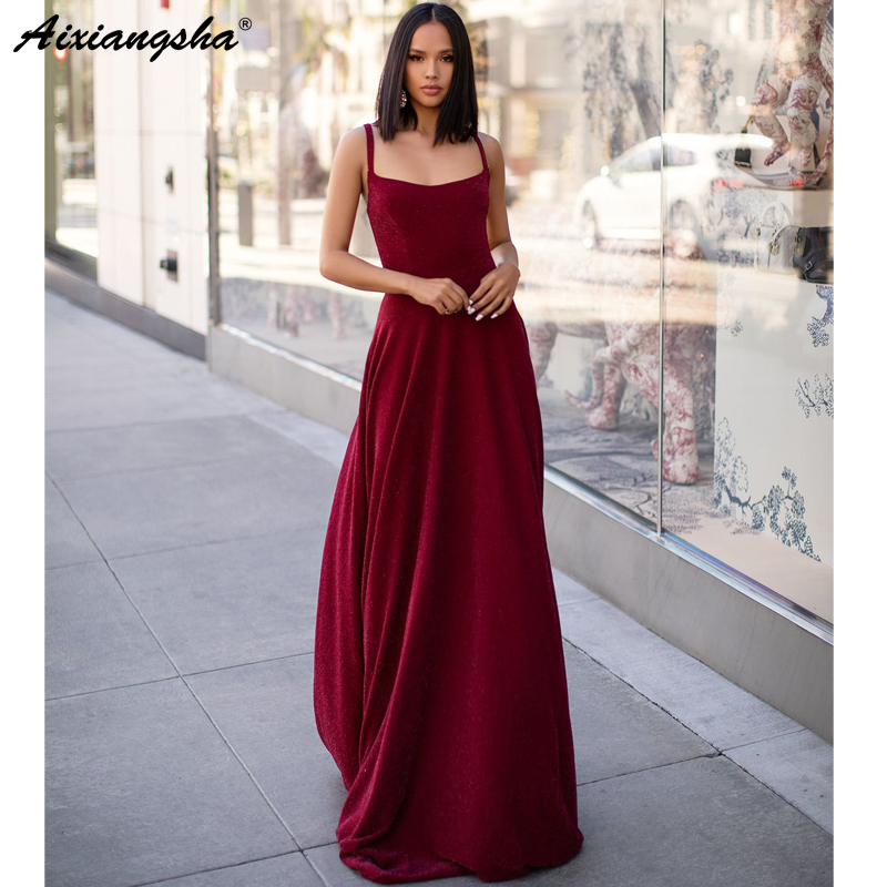 Elegant Burgundy 2019 Prom Dresses A-Line Long Sexy Backless Prom Gown Evening Dress robe de soiree