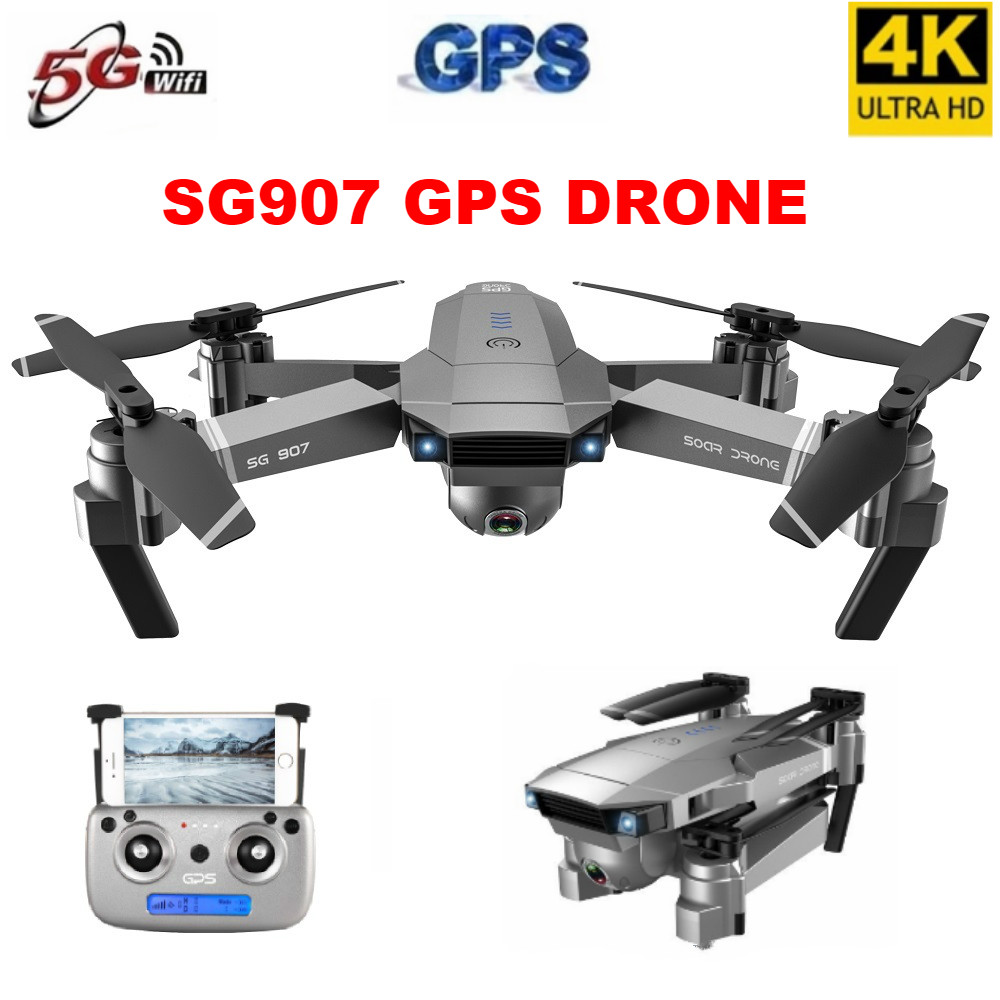 SG907Professional 4K Drone 4K Selfie HD Dual Camera GPS Follow Wide Angle Anti shake 5G WIFI FPV RC Quadcopter Foldable 50X Zoom