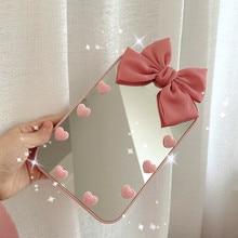 Makeup Mirror Dressing Desktop Girl Portable Cute Pink INS Bow-Knot Student