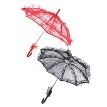 2 шт кружевной зонтик Свадебный кружевной цветок свадебный зонтик для невесты зонтик, красный и черный