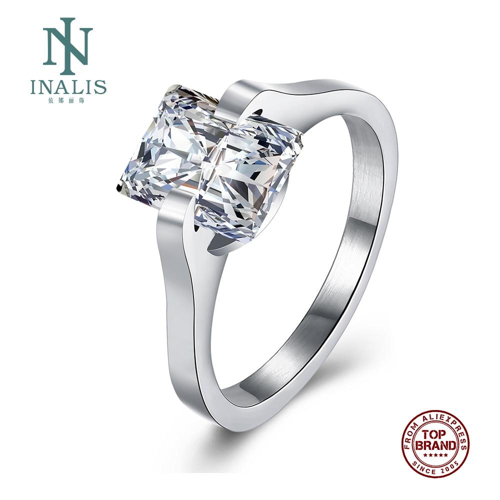 Inalis anéis de aço inoxidável romântico jóias finas zircão feminino grandes cristais quadrados design de luxo mãe irmã melhor amigo presentes