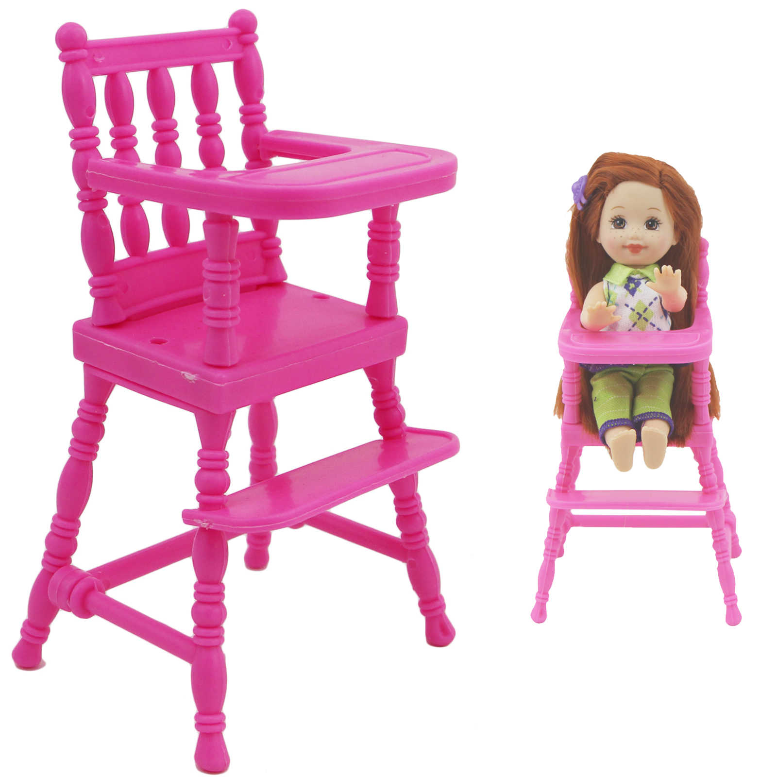 1 Set Pink Assembly Baby High Chair Nursery Furniture Dinner Toys Dollhouse Accessories for Barbie Doll Sister 1:12 Doll Toy