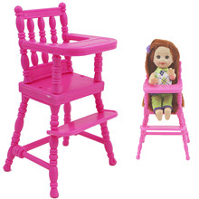 1 Set Pink Assembly Baby High Chair Nursery Furniture Dinner Toys Dollhouse Accessories for Barbie Doll Sister 1:12 Doll Toy(China)