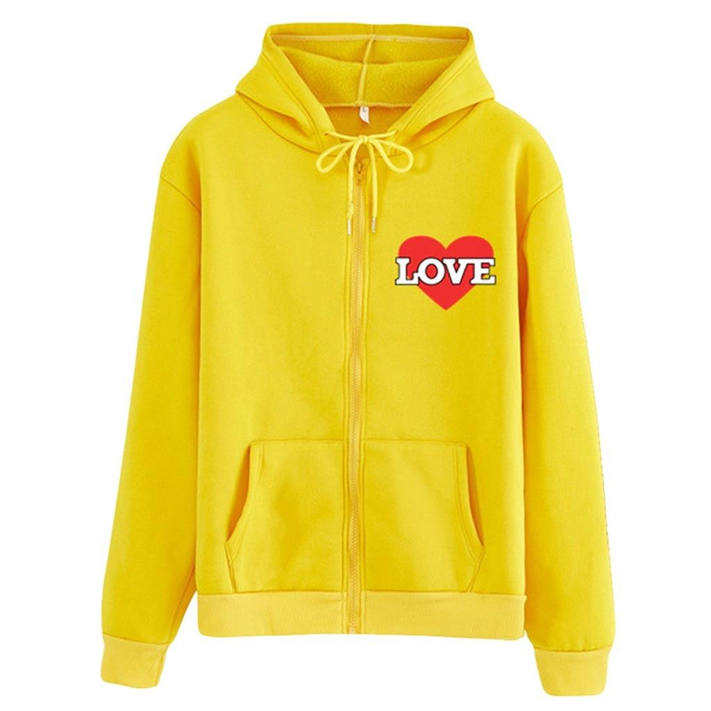 Pullover Hoodies Fashion Women Heart Printing Hooded Sweatshirt Zipper Long Sleeve Blouse Coat Top Plus Size Sudaderas Mujer