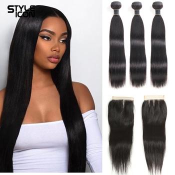 Pasma prostych włosów z zamknięciem peruwiańskie wiązki ludzkich włosów z przednim pasma włosów typu Remy proste włosy z zamknięciem tanie i dobre opinie STYLEICON = 5 Remy włosy CN (pochodzenie) Peruwiański włosów Human Hair Bundles With Closure Remy Hair Brazilian 3 Bundles Straight Bundles with Closure