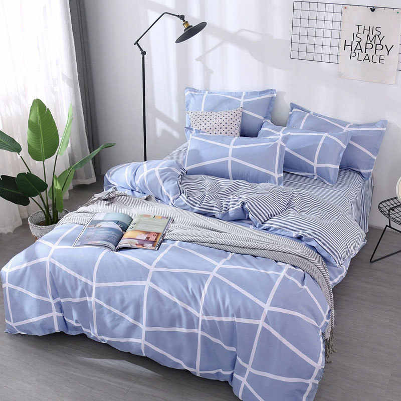 Blue Stripe 4pcs Kid Bed Cover Set Cartoon Duvet Cover Adult Child Bed Sheets And Pillowcases Comforter Bedding Set 2TJ-61003