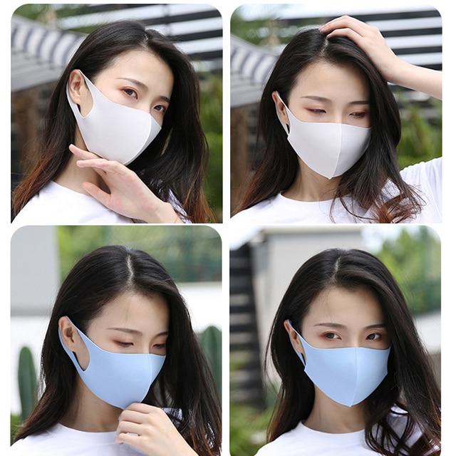 1PC Black Korean Version Women Men Ice silk Cotton Mouth Mask Breathable Face Mask Reusable Windproof Face Shield Unisex 1