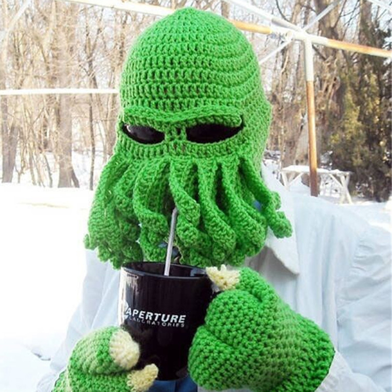 2019 Novelty Funny Party Octopus Beard Hat Unisex Animal Cthulu Crocheted Tentacle Knit Wind Mask Ski Cap Halloween Hats