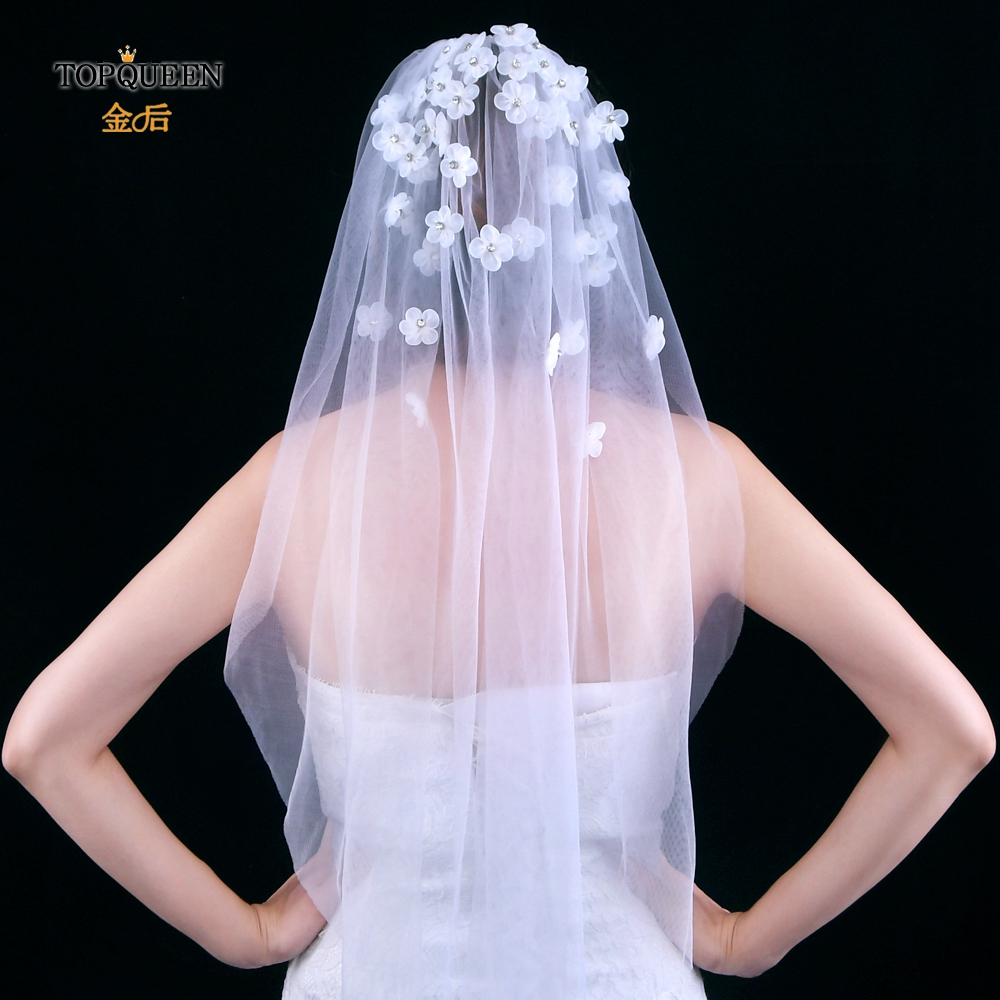 TOPQUEEN V46 Wedding Veils with Comb Veils Bridal Ivory White Short Bridal Wedding Accessories Ribbon Flower Veils One-layer