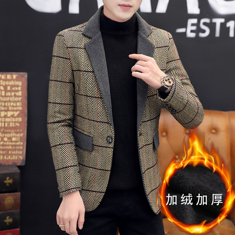 2020 Men New Plover Case Word Tattoo Fashion Leisure Cloth And Wool Suit Young People Joining Together To Thicken The Suit