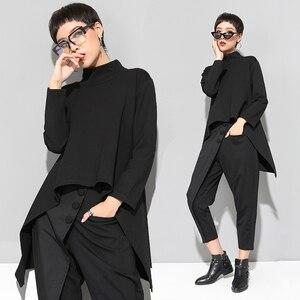 Image 5 - XITAO Vintage czarny golf T koszula kobiety Plus rozmiar Kawaii Casual z długim rękawem nieregularne koszule koreańskie ubrania nowy ZLL1177