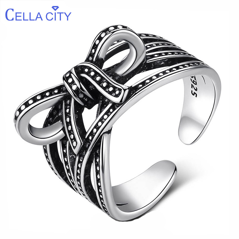 Cellacity Bow Ring For Women Opening Adjustable Jewelry Thai Silver 925 Individual Character Vintage Style Gift Party Wholesale