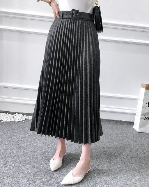 New Women fashion belt solid color pleated midi skirt faldas mujer ladies side zipper vestidos retro casual slim skirts QUN481 6