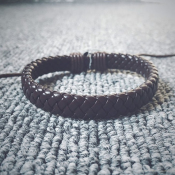 Fashion Jewelry Black Braided Leather Bracelet Men Bracelets Braided Wax Cord Bangles De Couro Pulseiras Masculinos image